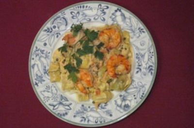 Spaghettini mit Garnelen, Artischockenherzen und grünem Pfeffer - Rezept