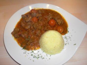 Rindfleisch-Tomaten-Curry mit Kreuzkümmel und Zitronenbasmatireis - Rezept