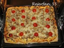 Schweinefilet-Gyros auf Pizzateig - Rezept