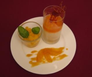 Mascarpone-Orangen-Creme mit Bitter-Gelee und Orangen-Basilikum-Sorbet - Rezept