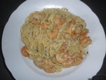 Spaghettini in Garnelen Sahnesauce - Rezept