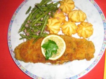 Kräuterschnitzel mit Bohnengemüse und Herzoginkartöffelchen - Rezept