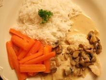 Hühnchenbrust in Portweincreme mit Reis an Gemüse - Rezept