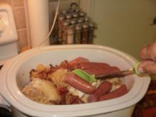 Sauerkraut mit Wurst - in einem langsamen Kocher -  8 Stunden in einem Topf und fertig - Rezept