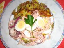 Wurstsalat mit Ei und Brägele - Rezept