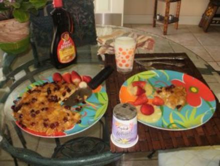Pfannkuchen - Apfel und Cranberries - ein grosser Pfannkuchen-gebacken im Ofen - 163 Kal. fettarm Mit Bildern - Rezept