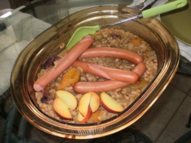 Bohnen mit Pfirsiche - gebacken   200 Kal und fettarm - Das geht gut mit Fisch oder Grilled Huhn - Rezept