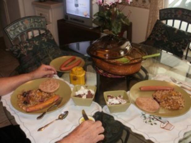 Bohnen mit Pfirsiche - gebacken   200 Kal und fettarm - Das geht gut mit Fisch oder Grilled Huhn - Rezept - Bild Nr. 2