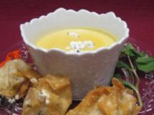 Kichererbsensuppe mit Minze-Käse-Wan-Tans - Rezept