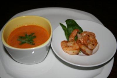 Kokos-Tomaten-Suppe mit King Prawns - Rezept