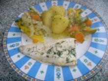 Pangasiusfilet gedünstet, Gemüse mit Cherry und Salzkartoffeln - Rezept