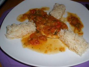 Fleischgerichte - Putenschnitzerl an Letschogemüse mit Reis - Rezept