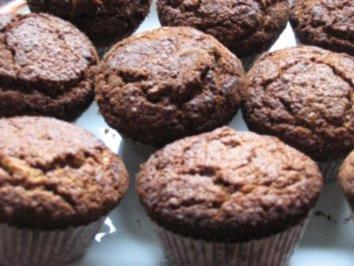 Dunkle Schoko-Haselnussmuffins - Rezept