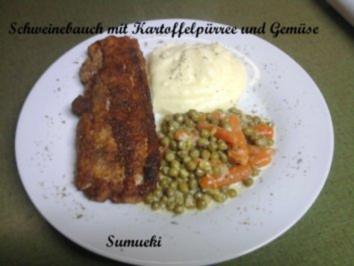 Schweinebauch mit Kartoffelpürree und Erbsen und Karotten-Gemüse - Rezept