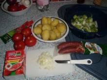 Röstkartoffelpfanne mit Kabanossi, mit Fotos - Rezept