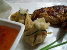 Poulardenbrust im Asialack zu Gemüse-Wan-Tans - Rezept