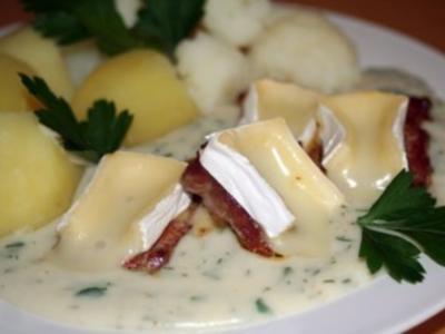 Lende mit Camembert-Weißwein-Soße - Rezept