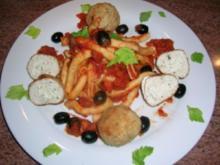 Bucatini mit  knusprig gebratenen Ricotta-Geflügel-Bällchen+Tomatensauce mit feinem Orangen Aroma - Rezept