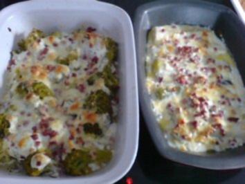 Gratinierter Lauch oder Brokkoli mit Schinken - Rezept