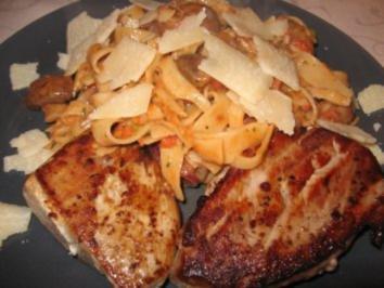 Thunfischsteak mit italienischer Nudelpfanne - Rezept