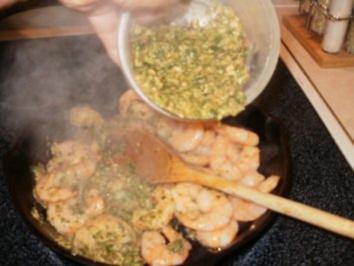 Shrimp-Texas Pesto Shrimp mit Reis - einfach -fertig in  10 Minuten - fettarm - Rezept