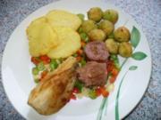 kleine Kasseler Medaillons mit verschiedenem Gemüse - Rezept