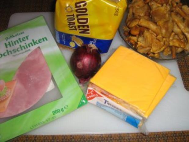Rührei mit Pfifferlingen auf Toast  - überbacken - Rezept - Bild Nr. 2
