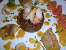 Seeteufelfilet, Jakobsmuscheln und Hummerkrabben auf Chateau Linsen an Grapefriut-Sahne-Sauce - Rezept