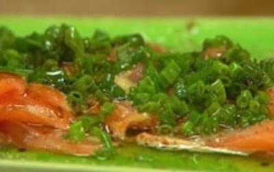 Lachs-Sashimi mit Nussbutter - Rezept
