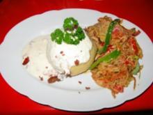 pikant gefüllte Kartoffelklöße mit (Bunte Gemüsepfanne)siehe KB - Rezept