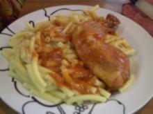 """Hauptgericht: Hähnchenschenkel """"Italienisch"""" mit Makkaroni und gemischten Salat - Bilder sind dabei - Rezept"""
