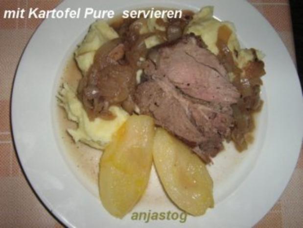 Lammkeule mit Rotwein Zwiebeln und Birnen - Rezept - Bild Nr. 6