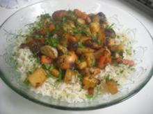 Hähnchenschenkel mit Gemüse und Reis in Honig - Rezept