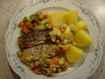Heringsfilet im Gemüsebett überbacken... kalorienarm - Rezept