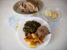 Eisbein mit Grünkohl und Röstkartoffeln - Rezept