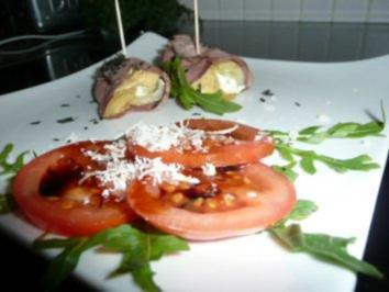 VORSPEISE/Fleisch:Roastbeef-Involtini auf Tomaten-Carpaccio - Rezept
