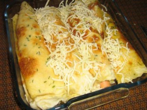 Pfannkuchen-Crêpes lecker gefüllt mit Bulgur und Wienerle - Rezept - Bild Nr. 6