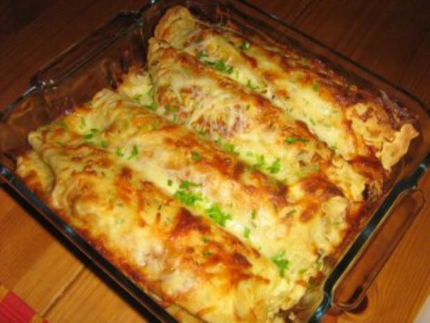 Pfannkuchen-Crêpes lecker gefüllt mit Bulgur und Wienerle - Rezept - Bild Nr. 7