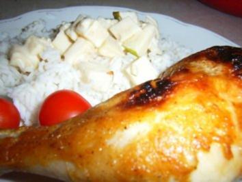 Hähnchenkeule in golden Lackkorsage an Reis und Brandenburgischen Käsesalat - Rezept
