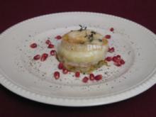 Gratinierter Ziegenkäse mit glasiertem Apfel auf Kartoffel-Thymian-Rösti - Rezept
