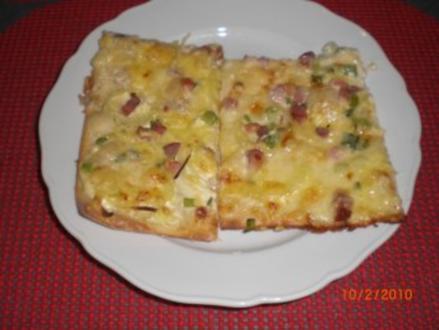 Flammkuchen mit Gorgonzola - Rezept