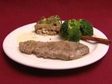 Rückwärts gebratenes Rindersteak mit Zitronen-Aioli dazu Brokkoli und Auberginen (Alexandra Polzin) - Rezept