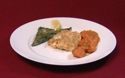 Heilbutt in Honig-Sesam-Mantel dazu Süßkartoffeln und grüne Spinat-Ravioli (Florian Simbeck) - Rezept
