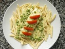 Fagiolini mit Ziegenfrischkäsesauce an frischem Lachs - Rezept