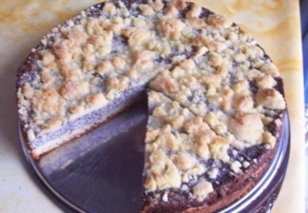 Mohnkuchen mit streusel und quark