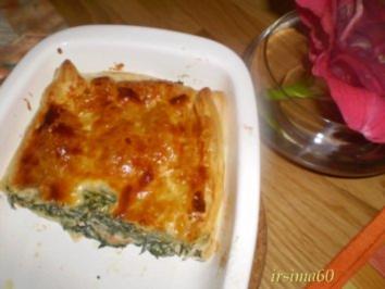 Blätterteigpastete mit Räucherlachs und Spinat - Rezept