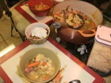 Suppe - Spargel, Gemuese und Spaetzle,  Huenersuppe selbst gemacht -  mit Spaetzel, Schinken oder Huehnerfleisch mit Gemuese - Rezept