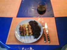 Geflügel: Hähnchen-Rosenkohlspieße mit schwarzem Thailändischen Klebreis - Rezept