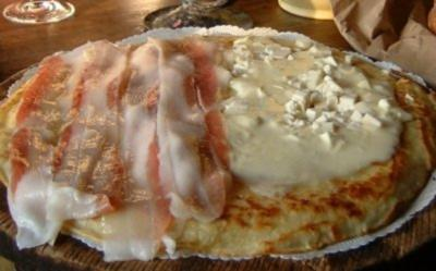 Pfannkurchen mit Lardo und Büffelmozzarella - Rezept
