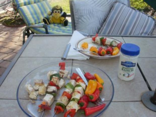 Grill -Tofu und Paprika mit Nuessen - 10 Minuten schnell - Grill  nach Geschmack - fettfrei - Rezept
